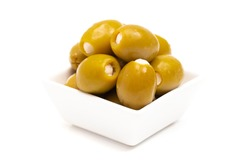 Green Olives Stuffed with Cheese Isolated on a White Background