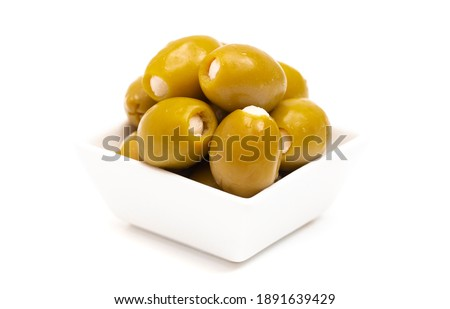 Green Olives Stuffed with Cheese Isolated on a White Background Stock photo ©