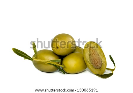 green olives with branch