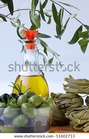Green Olives with Olive Oil and Spinach Tagliatelle