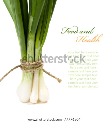 Green onion  (Food and health concept) with space for text