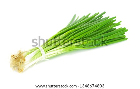 Green onion isolated on the white background Foto stock ©