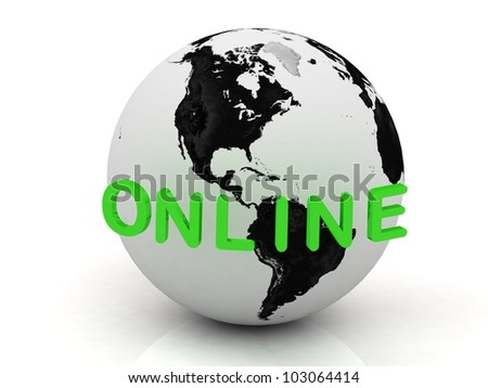Green Online, abstraction of the inscription around the earth on a white background