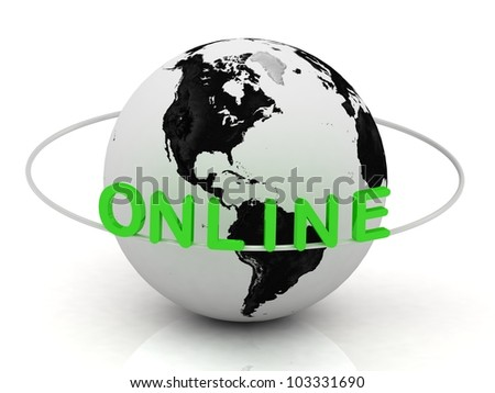 Green Online and white ring, abstraction of the inscription around the earth on a white background