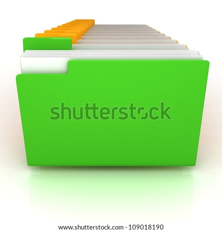 green open folder and yellow folders with documents