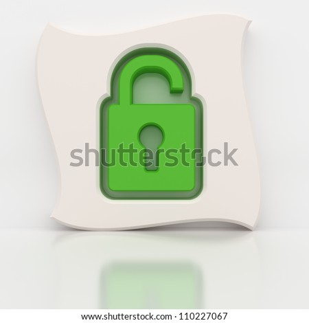 Green open padlock like a computer icon. Wave shape extrude.