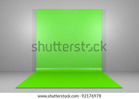 Green or chroma key backdrop in empty room
