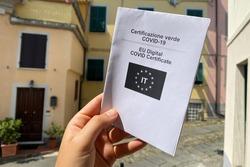 Green or Covid Pass. EU Covid or Coronavirus vaccine certificate. Italian and English language.