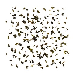 Green or white tea pattern isolated on white background flat lay. Fresh herbal dried leaves wallpaper. Tasty organic herbs beverage. Healthy, eco, zero waste top view square clipart