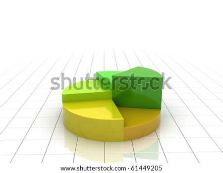 Green orange yellow pie chart illustration fresh colors - side view