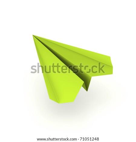 green origami plane
