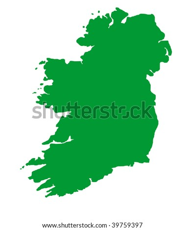 Green outline map of Republic of Ireland on blue with clipping path, isolated on white background.
