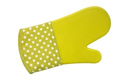 Green oven gloves on white background with clipping path.