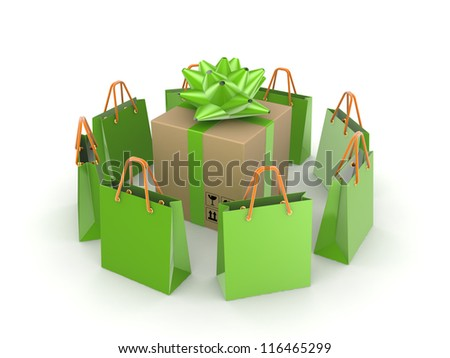 Green packets around big carton box.Isolated on white background.3d rendered. - stock photo