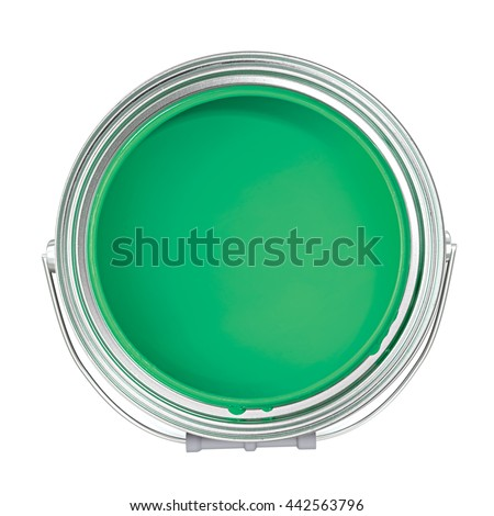 Green paint can isolated on a white background