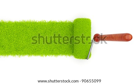 Green paint of grass. Roller isolated on white background. 3D illustration