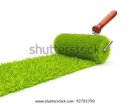 Green paint of grass. Roller isolated on white background. 3D illustration - stock photo
