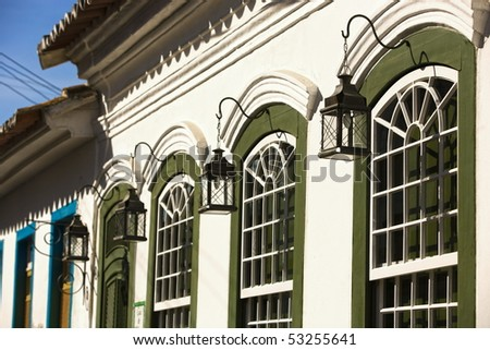 green painted windows of the beautiful portuguese colonial typical town of parati in rio de janeiro state brazil