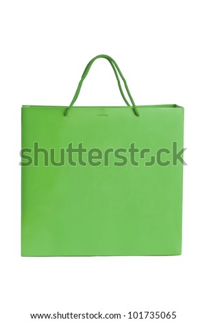 Green paper bag for shopping