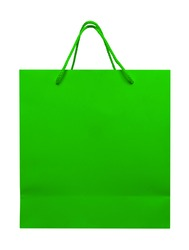Green paper bag isolated on white with Clipping Path