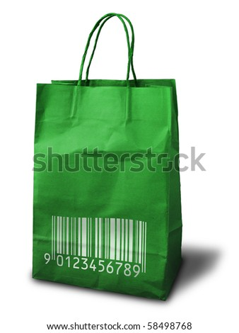 green paper bag with bar code print