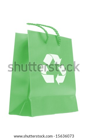 Green paper bag with recycle symbol isolated on white background