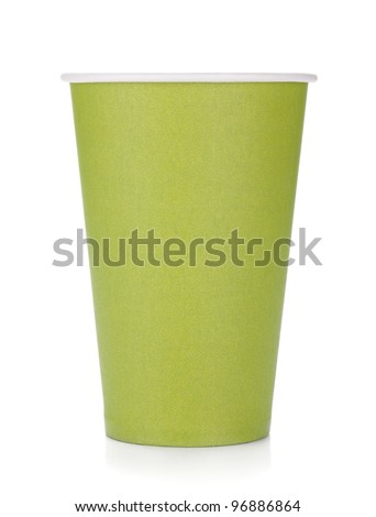 Green paper coffee cup. Isolated on white background
