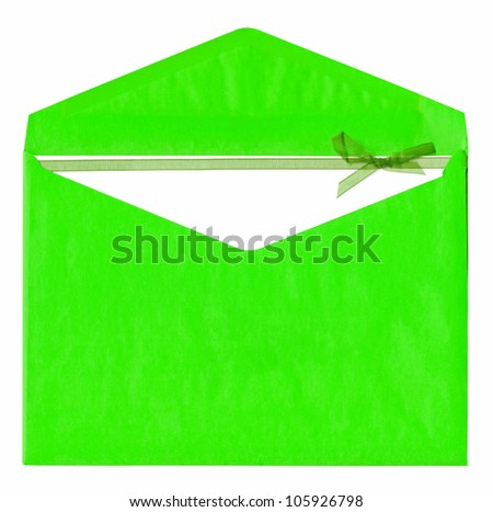 Green paper envelope with bow isolated on white background