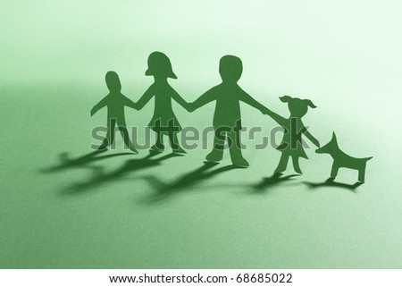 green paper family with dog