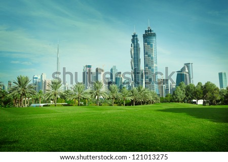 Green park in Dubai, UAE