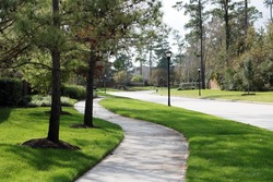 Green park walkway / path in the neighborhood