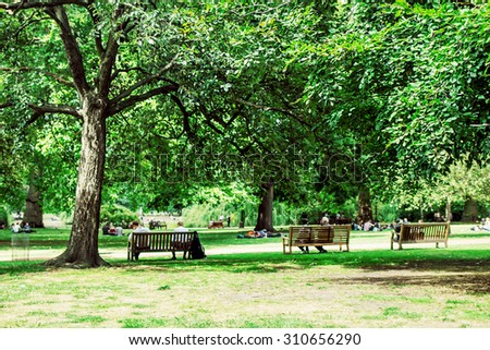 Green park with lawn, old big trees and benches in London, UK. Image with selective focus - Shutterstock ID 310656290