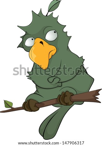 Green parrot cartoon