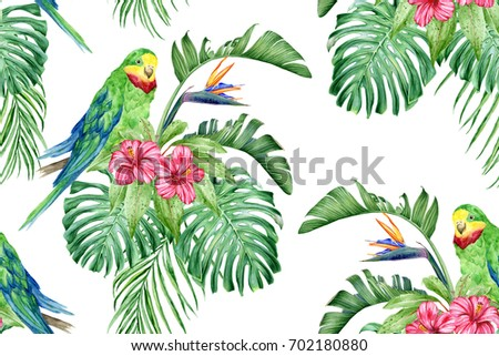 Green parrot, hibiscus, strelitzia and tropical leaves. Seamless watercolor pattern.
