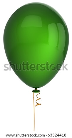 Green party balloon one single blank birthday celebration holiday decoration new years eve christmas anniversary retirement greeting card design element. 3d render isolated on white background