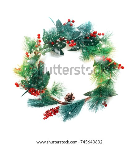 Green Pastel Christmas Decorative Wreath with Holly Berries Isolated on White Background Happy New Year Greeting Card Winter Xmas Holiday Theme #745640632