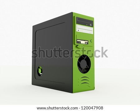 Green PC rendered on white background