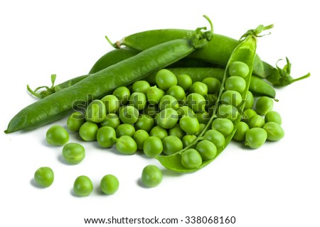 green pea pod, green peas, white background Сток-фото ©