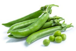 green Pea vegetable isolated on white background