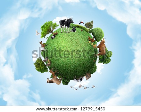Green peace earth, miniature planet, globe concept showing a green, peaceful and animals poultry life  #1279915450
