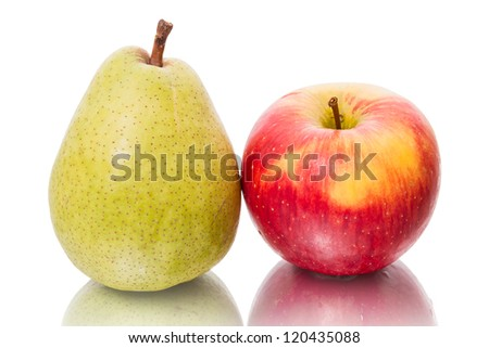 Green pear and red apple isolated on a white background
