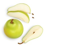 Green pear fruit with slices isolated on white background with clipping path. Top view with copy space for your text. Flat lay