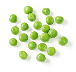 Green peas closeup isolated on white. Clipping path. Top view.