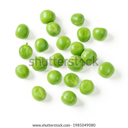 Green peas closeup isolated on white. Clipping path. Top view. ストックフォト ©