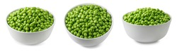 Green peas in white bowl set. Top and side view for package design with clipping path