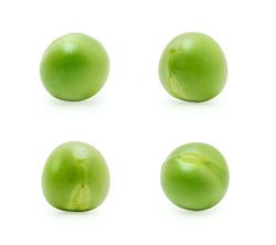 Green peas set isolated on the white background