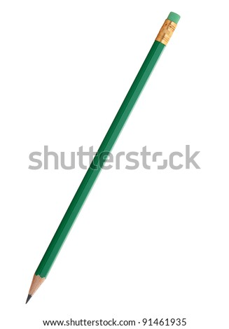 Green pencil with eraser. It is isolated on a white background