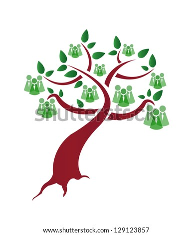 green people tree illustration design over a white background