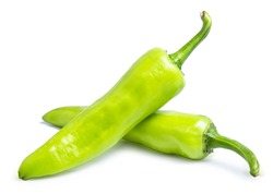 green pepper chilli sweet isolated on white background