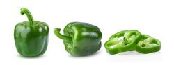 Green pepper full depth of field isolated on white background